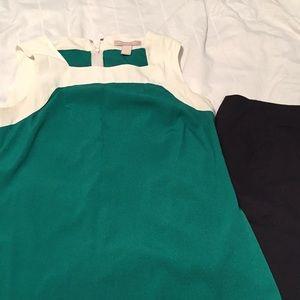 Green and cream sleeveless blouse